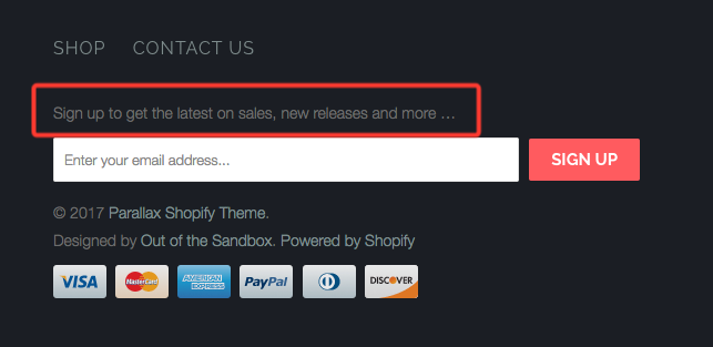 How Can I Change The Text Above My Footer Newsletter Sign Up Form - Shopify template language