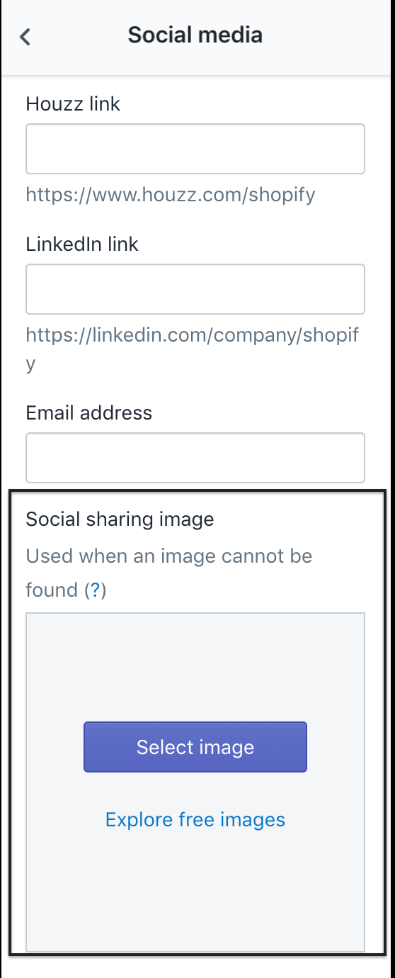 Specify what image/text is shown when someone shares your